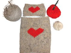 Red Valentine Heart Wool Knit Set Headband and Cowl by KnitSew4U, $89.00