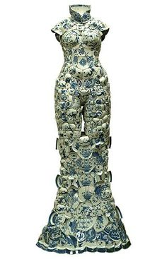 Untitled (dress, front) (2006-08) by Chinese artist Li Xiaofeng. Porcelain fragments from the Ming and Qing dynasties, 68.125 x 39.5 x 16.5 in. via Virginia Miller Galleries