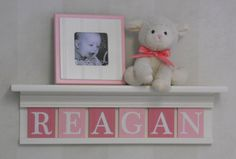 Baby Girls Nursery Wall Decor Pink  REAGAN  24 by NelsonsGifts,
