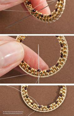 How to brick stitch inside circles - for earrings, pendants, etc. | - © Chris Franchetti Michaels