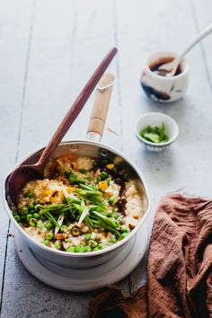 Congee With Miso Sauce is a rice porridge poplar in Asian countries, where rice is simmered in a lot of water to get that smooth, buttery texture.