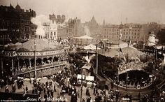 Annual event: The Goose Fair in 1912, when it was held in Nottingham's Old