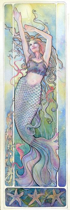 61 ideas art nouveau tattoo mermaid coloring pages Mermaid Tattoo Designs, Mermaid Tattoos, Mermaid Fairy, Mermaid Tale, Fantasy Mermaids, Mermaids And Mermen, Real Mermaids, Watercolor Mermaid, Watercolor And Ink