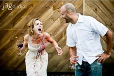 Trash the dress with wine - funny post wedding #photography