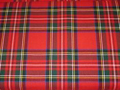 By Yard Only  Royal Stewart Tartan Plaid Fabric Viscose poly Non-Stretch~Fashion~Kilt~ Suiting~Craft~Christmas Fabric~Red Green @sohoskirts
