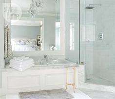 Style at Home - bathrooms - bathtub wainscoting, tub wainscoting, wainscoting bathtub, drop in bathtub, marble tub surround, bathtub mirror,...