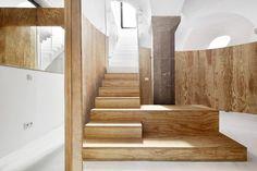 Apartment Tibbaut is a minimalist interior located in Barcelona, Spain, designed by RAS arquitectura. Basement Apartment, Basement Stairs, Basement House, Contemporary Architecture, Interior Architecture, Interior Design, Stone Interior, Interior Ideas, Raul Sanchez