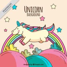 Feluz unicornio dibujado a mano en el campo