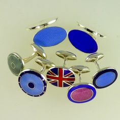 Silver enamel cufflinks with swing bar fittings: suitable for engraving - from (plus additional engraving) Bespoke Jewellery, Silver Enamel, Ds, Cufflinks, Jewelry, Jewlery, Jewerly, Schmuck, Jewels
