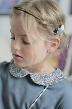 Easy to wear and perfectly matched with the Miss de Mars Italian wool pinafore dress, this Liberty Peter Pan collar long sleeved t-shirt will soon be