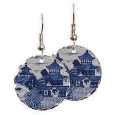 PORCELAIN CHINA VINTAGE_FLOW BLUE Earring on CafePress.com