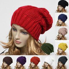 Knit Beanie Men Women Winter Oversize  Baggy Hat Ski Slouch Cap Chic Unisex Hats #MobilepongUSA #Beanie
