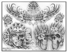 TattooSet - All-in-One Place for Tattoo Designs Chicano Tattoos, Kunst Tattoos, Tatuajes Tattoos, Skull Tattoos, Flash Art Tattoos, Mayan Tattoos, Inca Tattoo, Tatuagem Azteca, Aztec Tattoos Sleeve