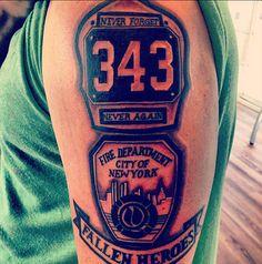 A very straightforward tribute to the FDNY. #InkedMagazine #FDNY #tattoo #Tattoos #patriotic #memorial #tribute