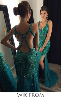 2019 Tulle Straps With Beads And Slit Prom Dresses Mermaid Open Back, This dress could be custom made, there are no extra cost to do custom size and color