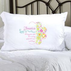 They'll greet each day with a smile when you give them our Personalized Cheerful Blossoms Pillow Case. With peppy colors and an inspirational message, this personalized gift will remind them to always to have faith, love and hope. Suitable for children, teens, and adults, this luxurious poly sateen pillow case will match any decor. Pillow case measures 22 x 30 and fits a standard or queen sized pillow. Personalize with one line of text of up to 20 characters. NOTE: The prayers is standard to…