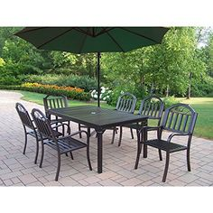 Oakland Living Rochester 7-Piece 67 by 40-Inch Dining Set, Includes 10-Feet Cantilever Burnt Orange Umbrella