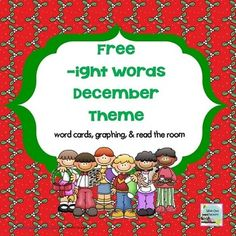 Free -ight December Theme Word Cards, Graph, and Read the RoomDecember Holiday Lights words included:bright, eight, fright, light, lights, might, night, right, sight, writebright, string of lightsThere are several different cards for light and lights, illustrated with several December cultures and customs.