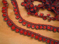handmade beaded trim turkish oya crochet red blue by PashaBodrum, $18.00