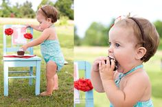 we will do ours at the beach - but good idea on a chair... or maybe a homemade  fun cake plate