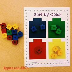 Sorting, counting...and finally great way to move from counting to adding on as well as problem with change unknown. Apples and ABC's: Linking Cubes Math Centers