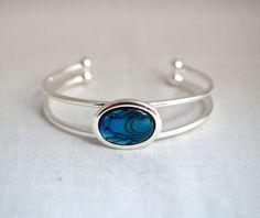 Blue Paua Shell Silver Plated Adjustable Cuff Bracelet