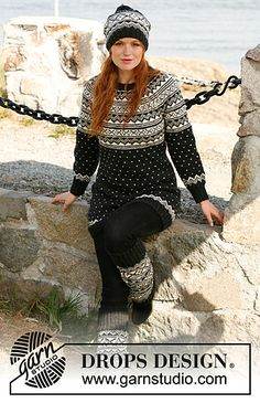 Nordic jumper, hat and leg warmers by DROPS.Free pattern.