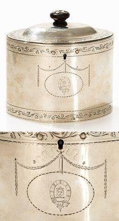 George III Silber Teedose von Aldridge & Green, London, 1782