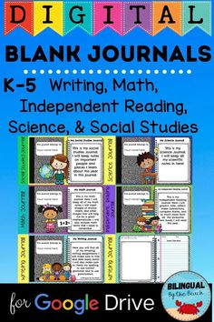 Blank Journals for all subject. Math, Reading, Writing, Social Studies, and Science. Google Slides Reading Anchor Charts, Independent Reading, Bilingual Education, Kindergarten Reading, Classroom Activities, Writing Journals, Teacher Resources, Social Studies, School Ideas