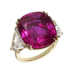 ALEXANDRE REZA~ MAGNIFICENT CUSHION CUT RUBY RING. Reza is known for his use of magnificent highest quality gemstones.