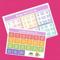 Cartones de bingo Eduludik a color. Numerados del 0 al 20. Listos para descargar en formato PDF