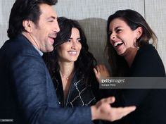 MARCH 06: (L-R) Javier Bardem, Penelope Cruz and Julieth Restrepo attend 'Loving Pablo' photocall on March 6, 2018 in Madrid, Spain.