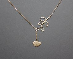 Branch and Bird Lariat Necklace Branch and Bird by MimosaElements, $19.99