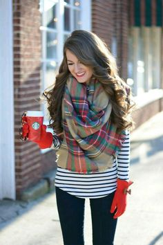 Blue n white striped top scarf