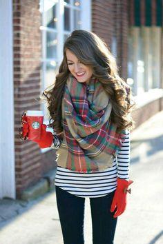 Blue n white striped top scarf