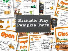 Dramatic Play Pumpkin Patch Printables for #preschool and #kindergarten
