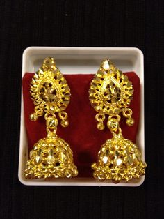 Indian jewelry - small golden earrings | HDaccessories
