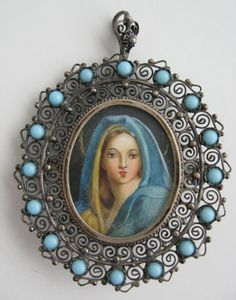 The Madonna - Virgin Mary pendant with spirals... sing to me in blue.