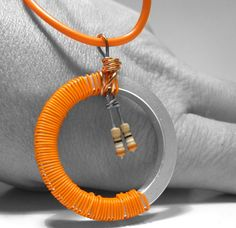 Panatone colour for 2012.  Resistor Necklace Computer Spacer Ring Orange by clonehardware