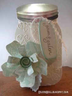 Canning Jar Wedding Favor could be used as a cake topper too