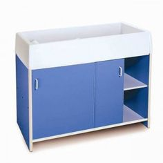 round edge infant care blue changing cabinet with pad features round edge construction for safety and the sliding doors provide easy access to items stored blue nursery furniture