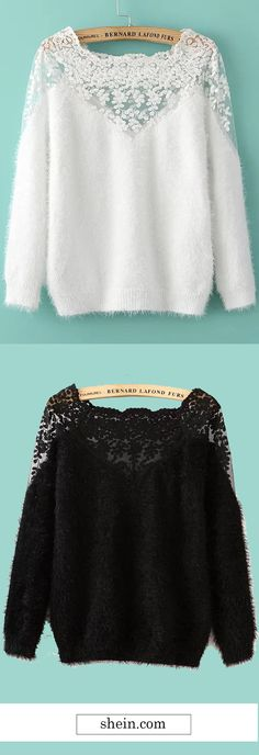 Lace Insert Boat Neck Mohair Sweater.