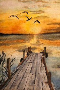35 Easy Watercolor Landscape Painting Ideas To Try Einfache Aquarell-Landschaftsmalerei-Ideen The old dock ends at nature& wonderous sunset over the still waters. I like the iridescent water. Nothing looks extremely bold enough though shades of orange and Watercolor Sunset, Watercolor Landscape Paintings, Landscape Art, Landscape Edging, Landscape Photography, Watercolor Ideas, Tattoo Watercolor, Watercolor Techniques, Watercolor Animals