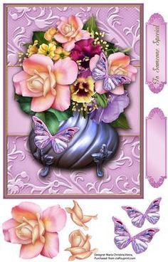 Pot of Flowers Pink with Butterflies on Craftsuprint designed by Maria Christina Vieira - Pot of Flowers Card Front,Approx. 6x8 inch card front,Beautiful floral bouquet pot card front, comes embellishments for decorate and two labels one with text and one blank.Label: To Someone Special - Now available for download!