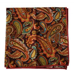 brown and orange paisley pocket square