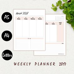 2017 DATED WEEKLY PLANNER - WEEK ON TWO PAGES  Use this stylish Dated Weekly Planner to easily organize your weekly tasks. Each week is spread on two pages and provides space for your personal notes.  This Weekly Planner Bundle will be a perfect addition to your Monthly Planner: www.etsy.com/listing/486396715  Looking for another Dated Weekly Planner design? www.etsy.com/listing/486921035  - - - - - - - - - - - - - - - - - - - - - - - - - - - - - - - - - - - - - - - - - - ...