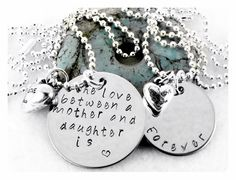 Personalized Handstamped Love Between Mother Daughter by LorieBFJ, $28.00