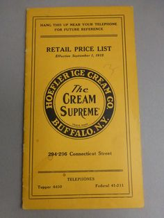 Antique 1915 Retail Price List for Hoefler Ice Cream Co. Buffalo New York Old Paper on Etsy, $8.95