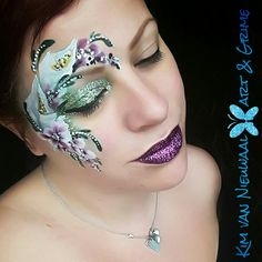 Calla's flowers eyedesign inspired by Bianca Hannah Lawton-Artists facepaint with glitterlips glitter
