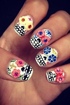 Celebrate Dia de los Muertos with these sugar skull-inspired nails